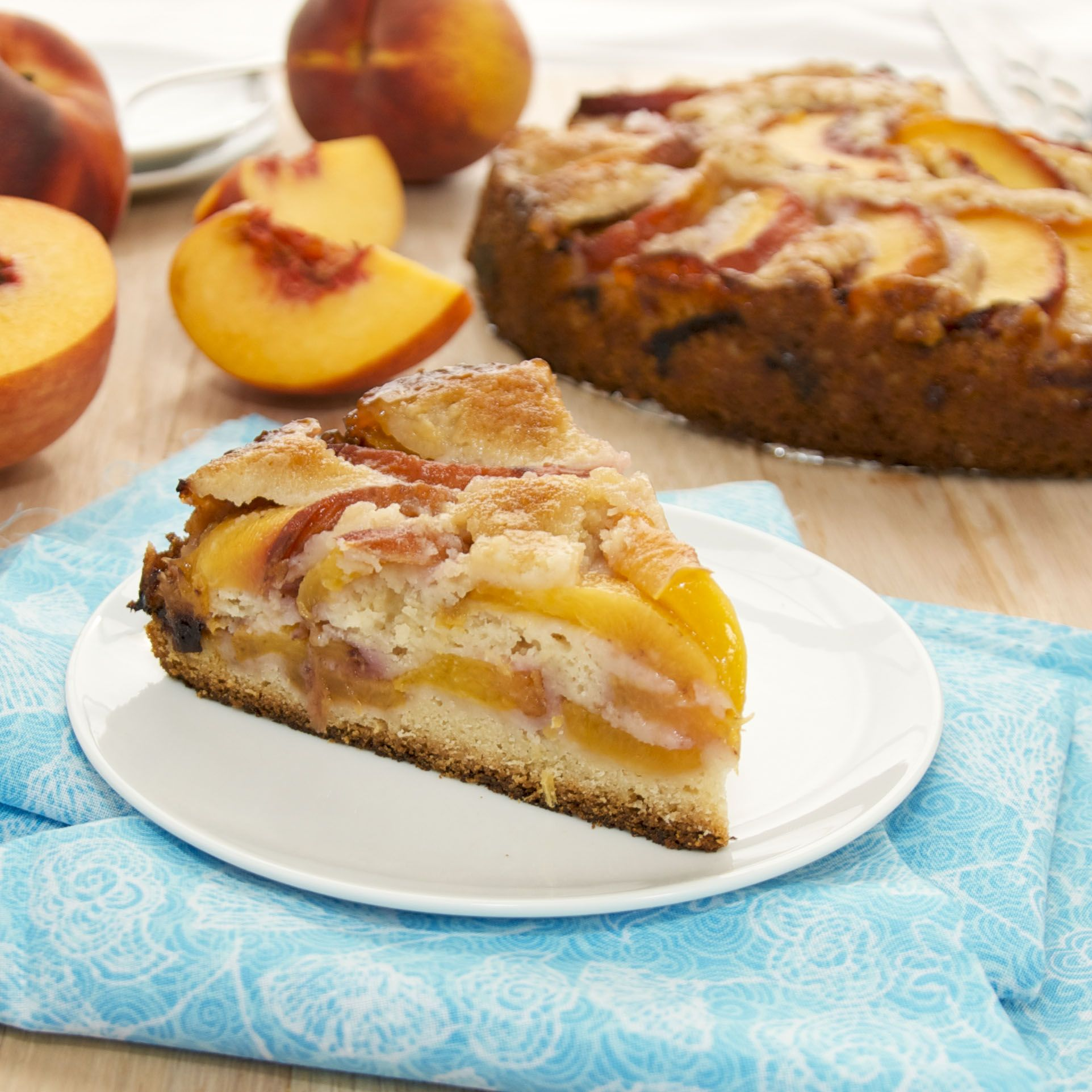 Summer Peach Cake...moist and tender cake that showcases peak-of-season peaches!
