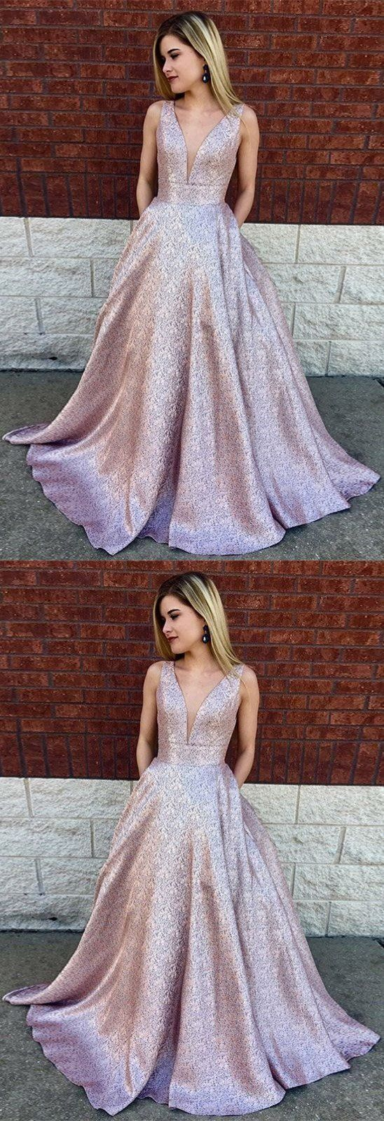 Deep vneck aline long lilac printed satin prom dress with pockets