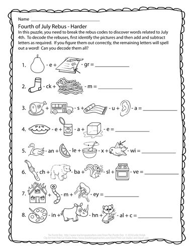 Rebuses Coloring Activity Sheets Free Brain Games