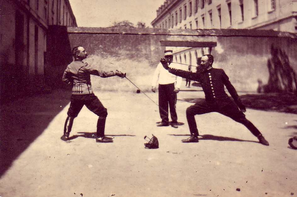 """Almost forgotten today, the Grand Salute was a rather elaborate sequence of movements that preceded each bout. A large percentage of 19th-century fencing photos does indeed depict the salute, not any competitive action."" http://www.youtube.com/watch?v=9BYVwc1qXM4"