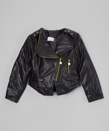 707411933 Look at this  zulilyfind! Black Split-Back Faux Leather Jacket ...