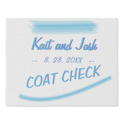 Coat Check Sign Minimalist Soft Ambiance Blue