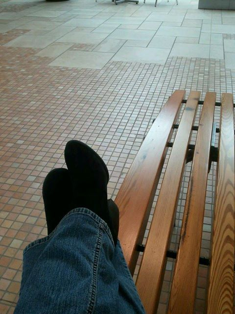 ....on a bench at the mall.