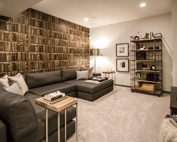 Contemporary Basement Living Room Book Wallpaper Murals Stunning Basement Living Rooms Design Design Decoration