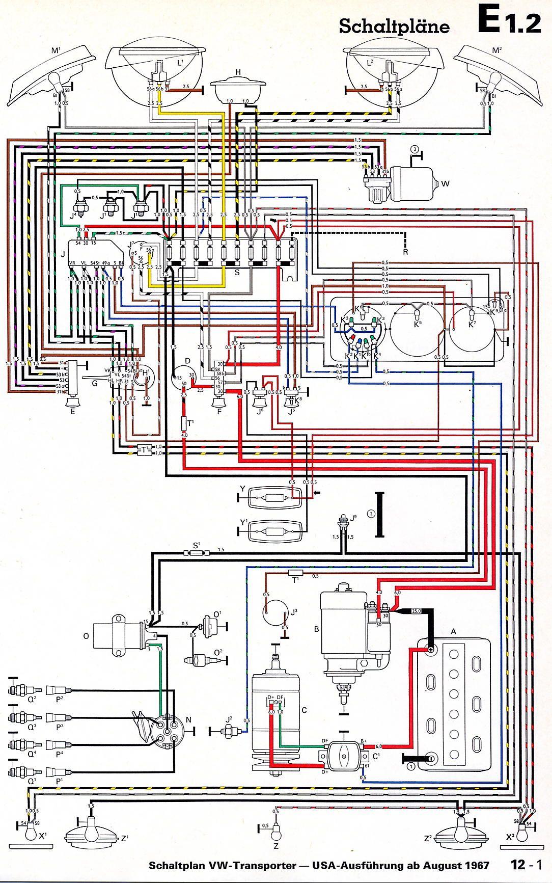 1968 VW Bus Wiring Diagram | Kombi Ideas | Vw bus