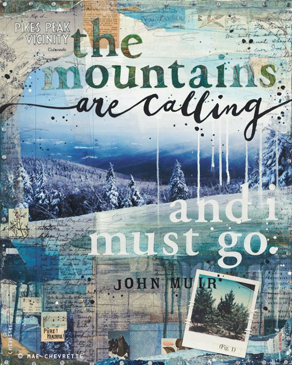 Mountains - 16x20 paper print - inspirational nature word art with typography