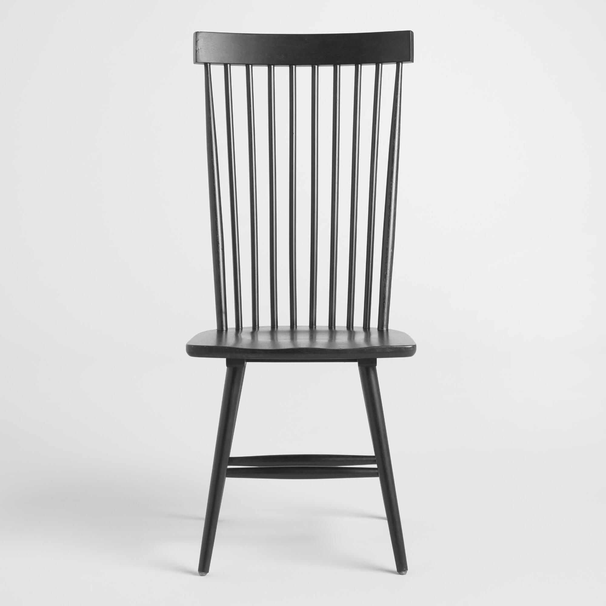 Black wood kamron high back windsor chairs set of 2