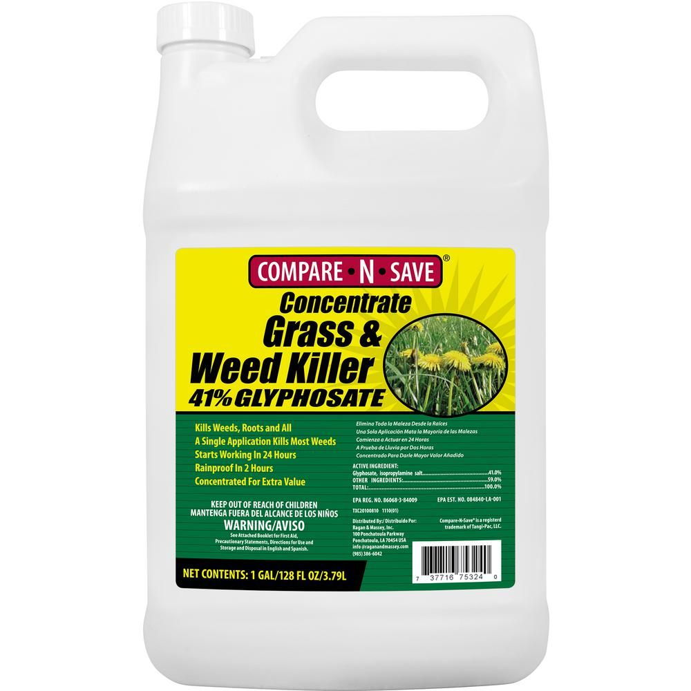 CompareNSave 1 Gal  Grass And Weed Killer Glyphosate Concentrate is part of Best lawn Care - Get to the root and kill grass and weeds with CompareNSave 41% Glyphosate Concentrate Grass and Weed Killer  Use for lawn or garden replacement, on patios, walkways, or in and around fences and gardens to remove unwanted grass and weeds  The 1 Gal  container will treat over 25,000 sq  ft  with visible results in as little as 2 to 4 days  Kills all grass and weeds