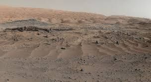 A panorama combining images from both cameras of the Mastcam on NASA's Curiosity Mars Rove