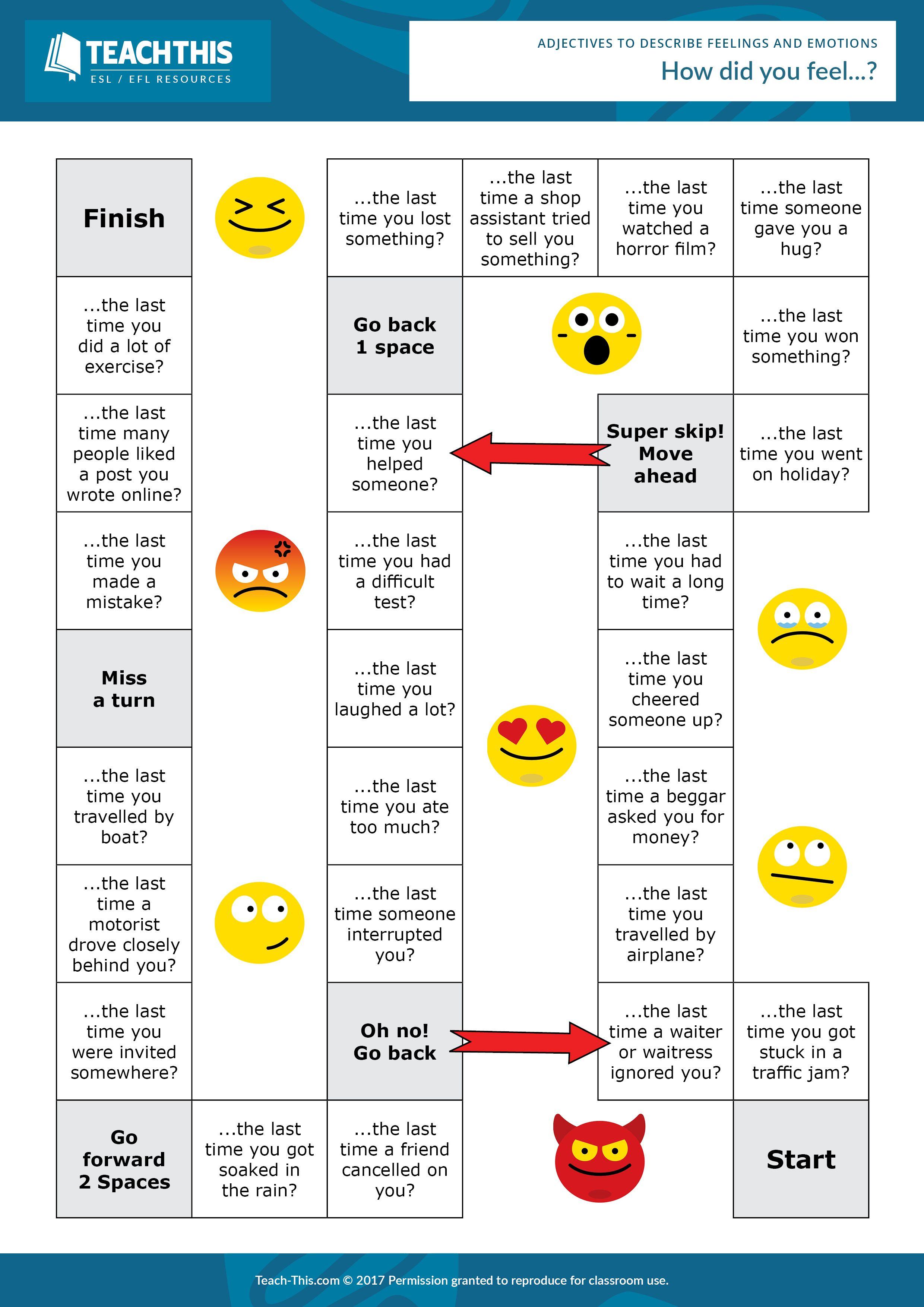 Adjectives Feelings Emotions