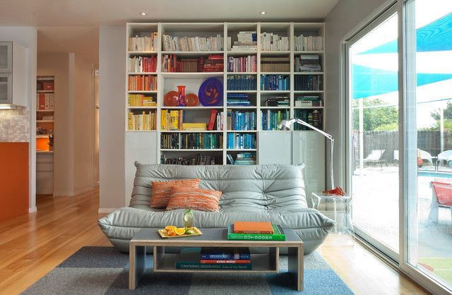 Nice Choices of Togo Sofa for Pleasure: Mesmerizing Togo Sofa In Midcentury Living Room With Grey Colored Sofa And White Bookshelf Which Is ...