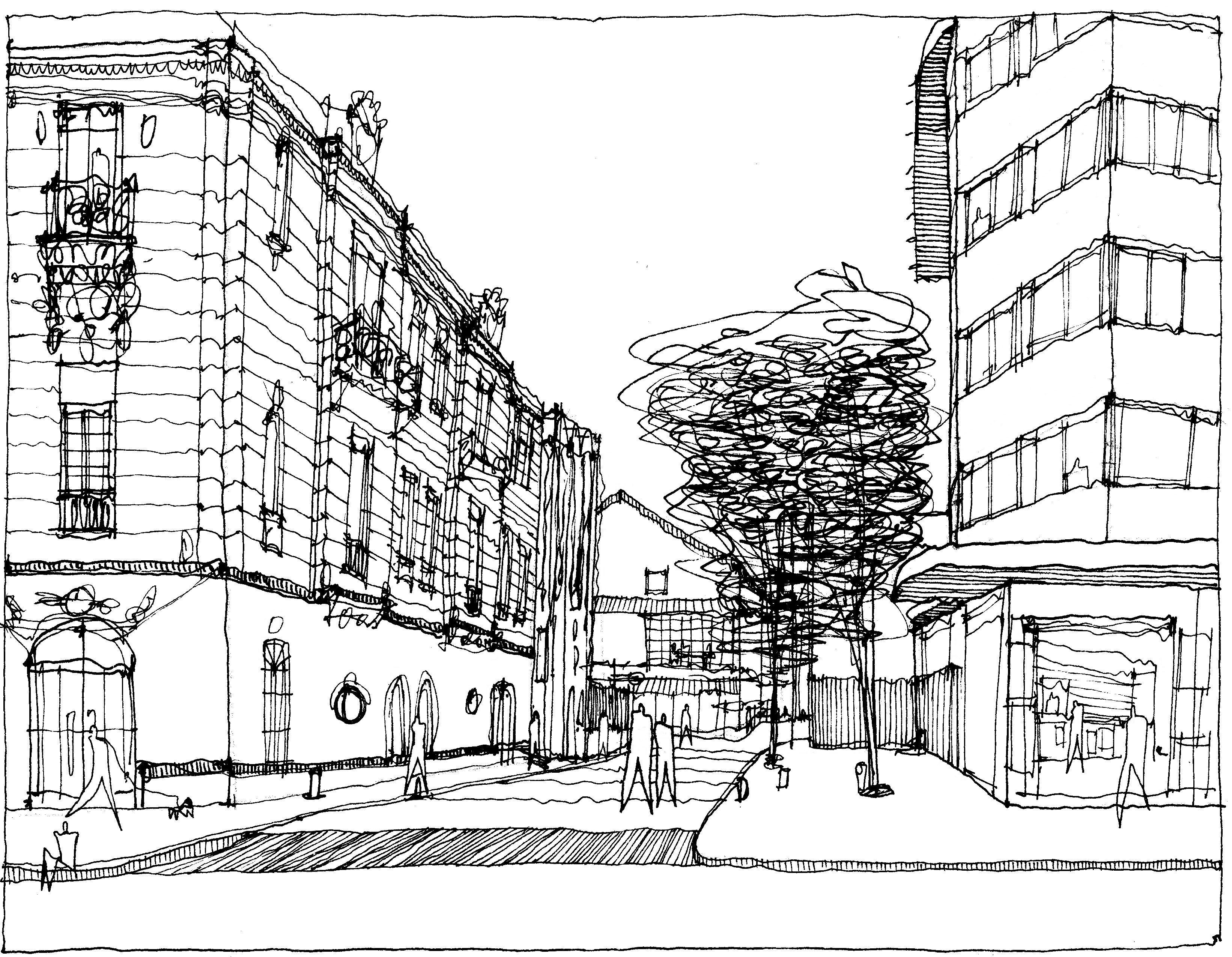 Calles Seiji Shirazawa Ilustracion De Paisaje Croquis Arquitectura Bocetos Arquitectura