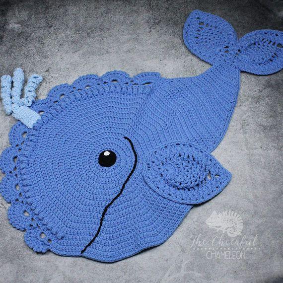 Whale Rug Nursery Rug Crocheted Rug Nautical Rug Animal Rug Nursery Decor Whale Decor Crochet Rug Patterns Crochet Mandala Pattern Crochet Whale