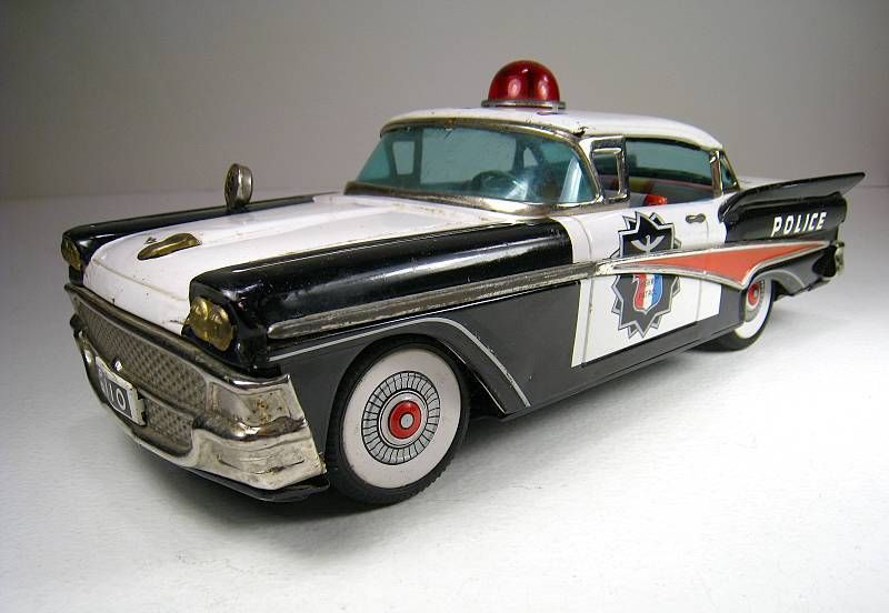 All Original Vintage Rochester Police Car Very Rare: YONEZAWA Tin Battery Operated 1958 Ford Police Car 12.25