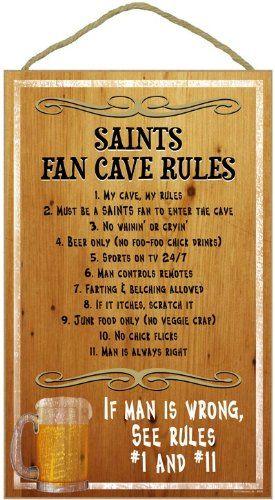 New Orleans Saints Fan Cave Rules Wood Sign Fan Cave Sports Man Cave Man Cave Rules