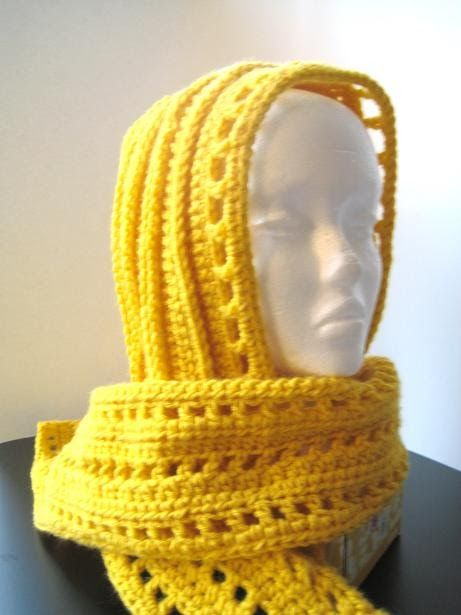 Aesthetic Hooded Scarf Free Crochet Pattern Gold Scarf Hooded