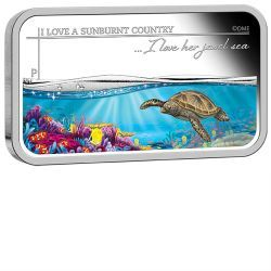 Sunburnt Country - I love her jewel sea 2015 1oz Silver Proof Rectangle Coin