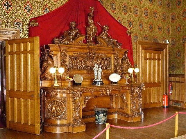 Sideboard in the Dining Room, Charlecote Hall, England.