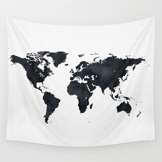 marble world map in black and white paper look map tapestry white and black map