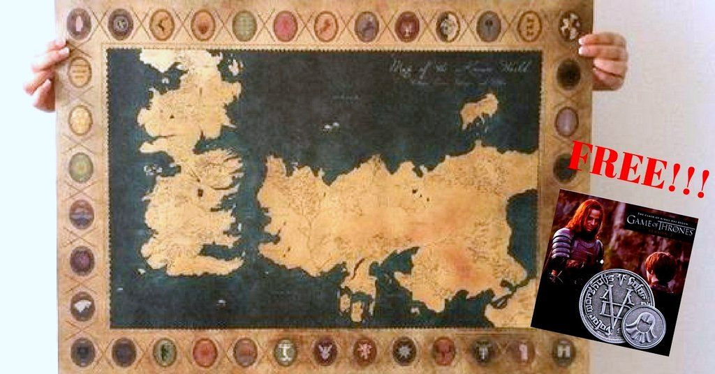 Game of Thrones Old Map Poster and a FREE Faceless Man Coin ( while ...
