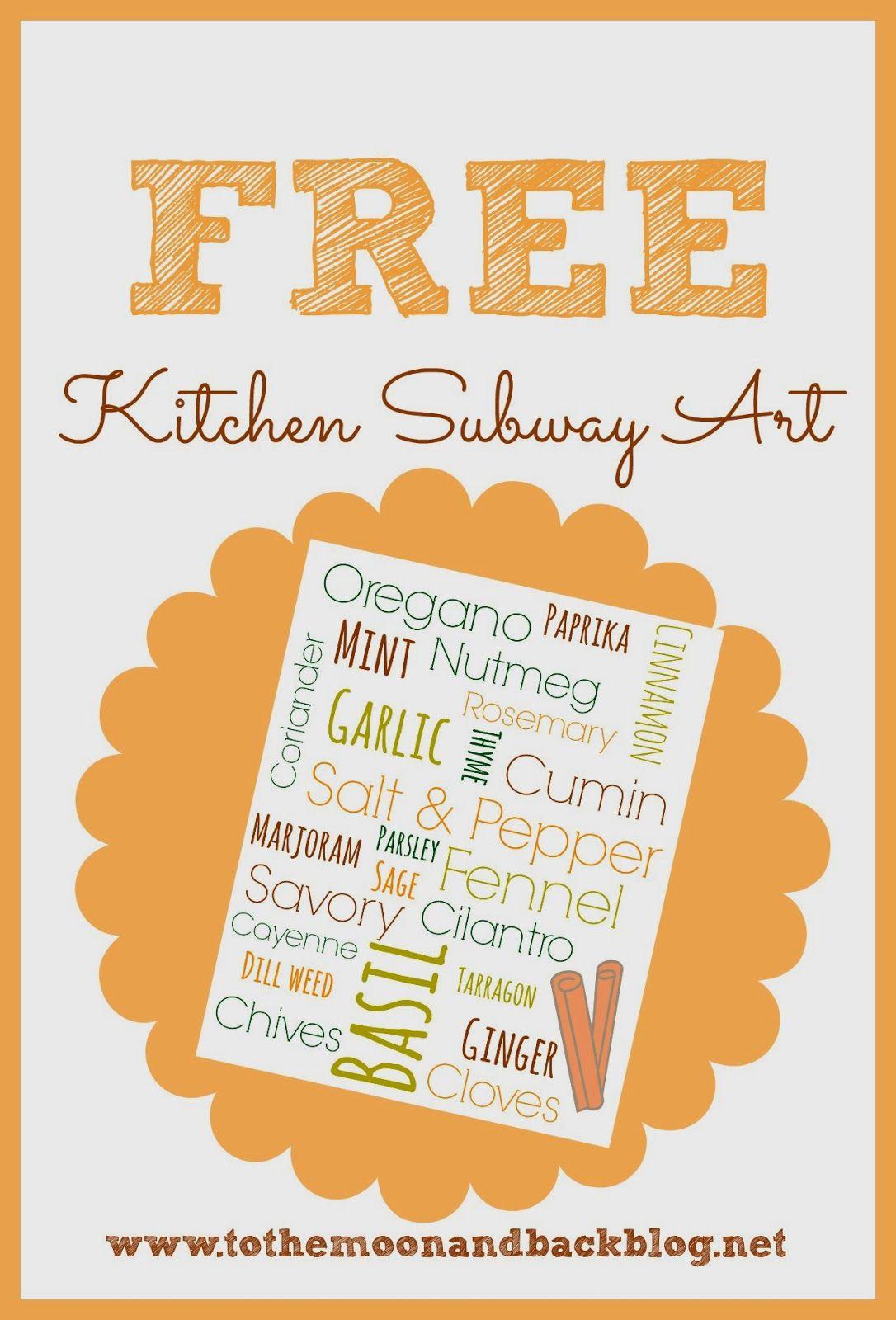 Kitchen Subway Art Free Printable