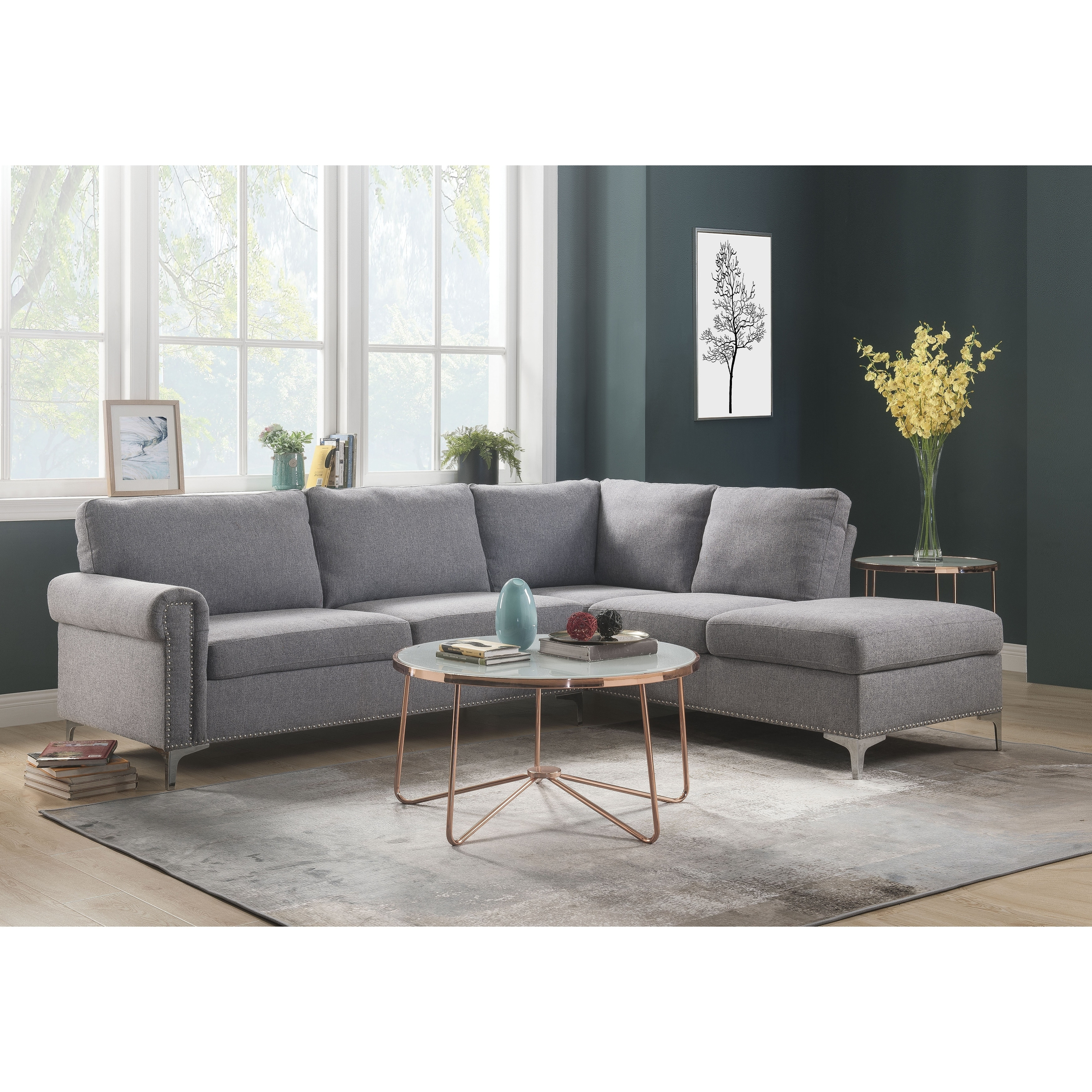 Fabric Upholstered Wooden Sectional Sofa With Metal Legs Gray And Silver White Benzara Grey Sectional Sofa Sectional Sofa Grey Sectional