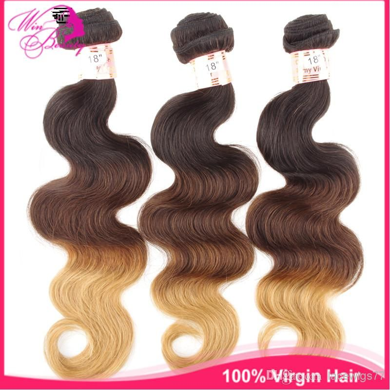 Grade 5a 1b427 Ombre Color Three Tone Brazilian Virgin Hair Body