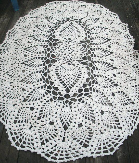 Custom Made Cotton Crochet Rug In Huge 7 Foot Oval Pineapple Pattern ...