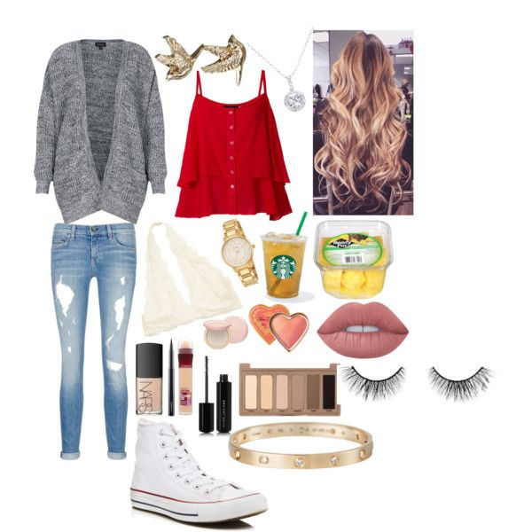 School 65 by ella-goodness on Polyvore featuring Topshop, rag & bone/JEAN, Converse, Cartier, Kate Spade, EWA, tarte, Urban Decay, Lime Crime and NARS Cosmetics