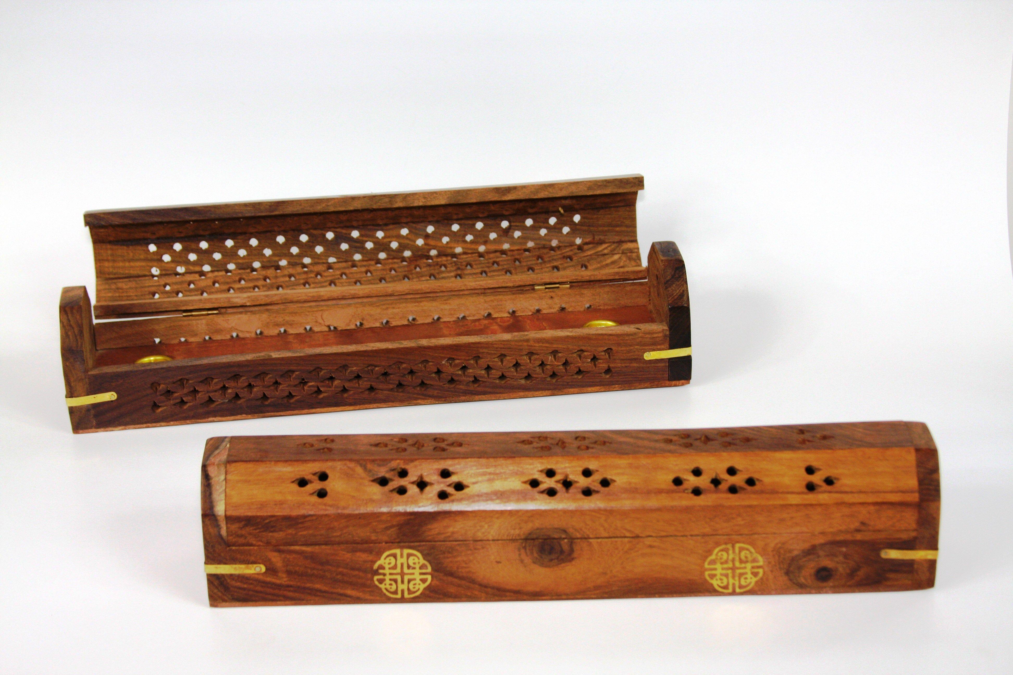 Wood incense burner coffin