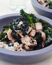 Crispy Kale-and-Tofu Salad with Coconut Recipe from Food & Wine (sub tempeh)