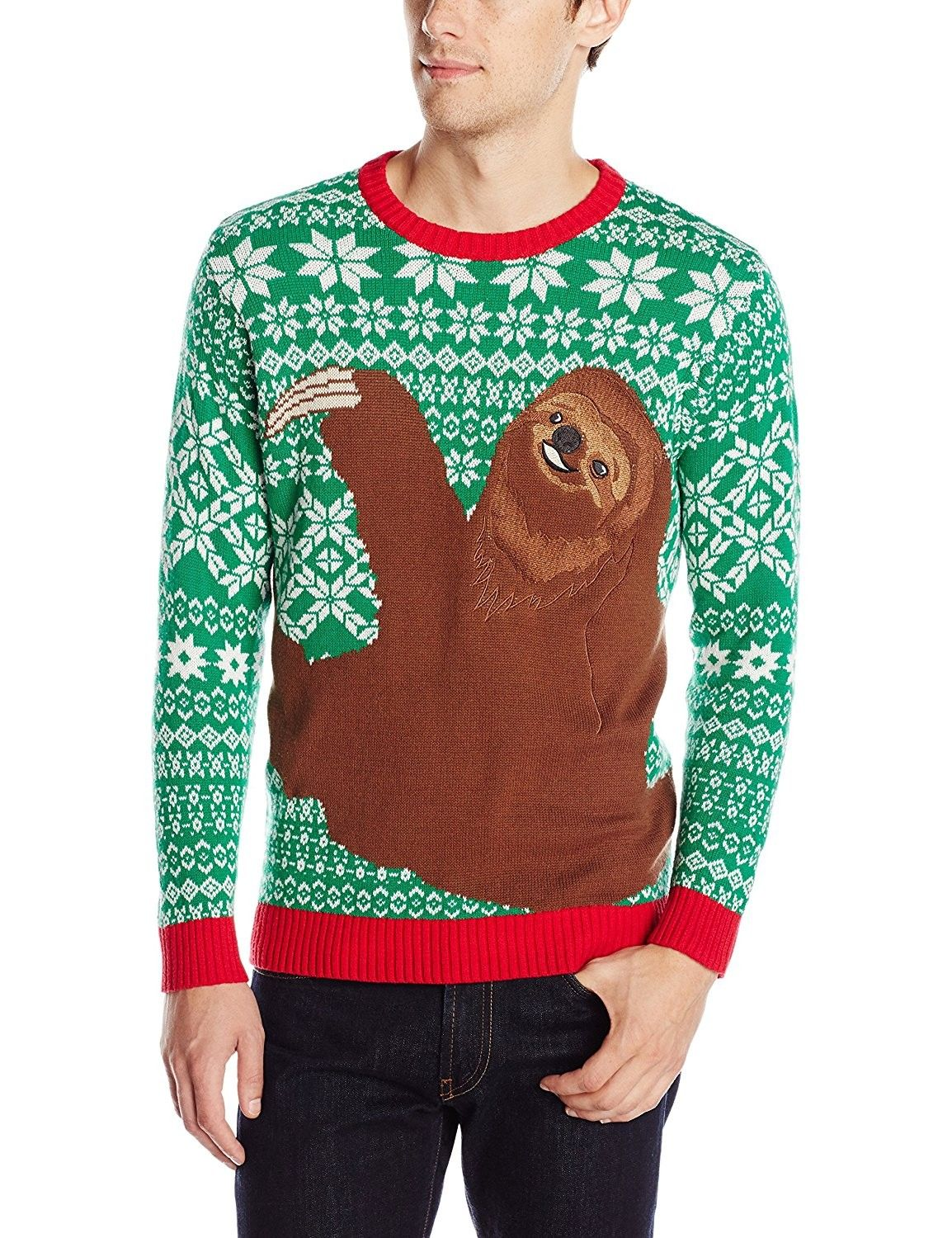 094c815e46bb Men s Sloth Hug Ugly Christmas Sweater - Green Red White ...