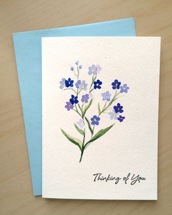 Hand painted Card, Thinking of you Card, Watercolor Cards, Forget me not, Handmade Card