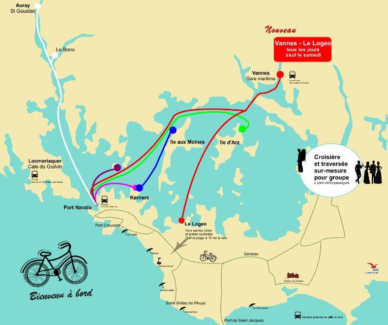Carte Des Liaisons Dans Le Golfe Du Morbihan Avec Le Passeur Des