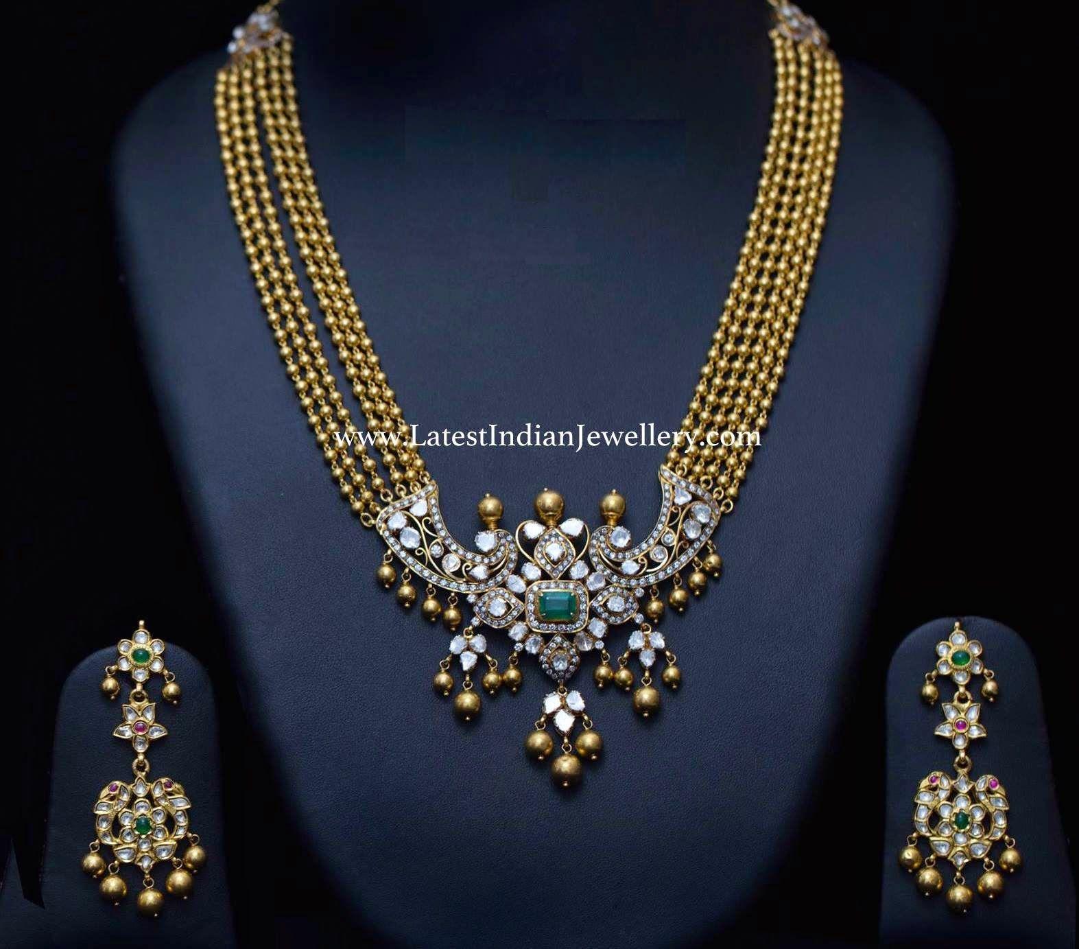 Gold balls haram polki pendant choker pinterest pendants