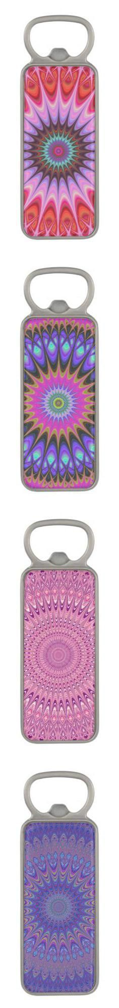 Mandala magnetic bottle openers - abstract bohemian drinkware design