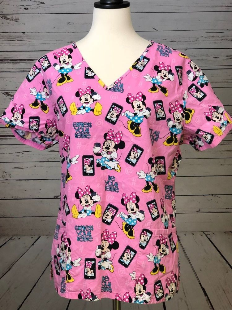 1cfeaa4bbae Disney Minnie Mouse Scrub Top Shirt Pink Selfie Cell Phone size Medium  Nursing #Disney #scrub #selfie