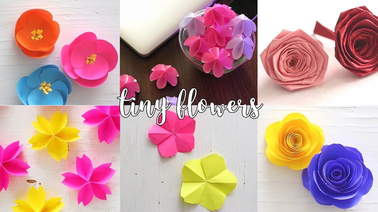 6 Tiny Paper Flowers Paper Crafts Compilation Youtube Crafty How To Make Paper Flowers Paper Roses Paper Flowers
