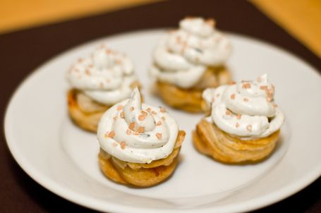 "Caramelized Pear ""Cupcakes"" With Blue Cheese Frosting"