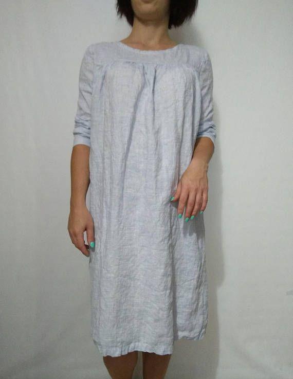 b0753c5ce42b Linen loose dress with long sleeves softened linen dress Casual dress  Maternity linen dress light bl
