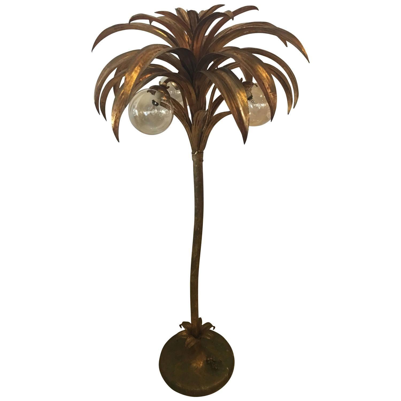 Palm Tree Floor Lamp Light Brass Gold Tropical Palm Beach Vintage Tree Floor Lamp Floor Lamp Floor Lamp Lighting