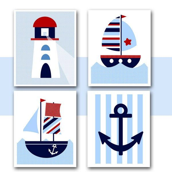 NAUTICAL Nursery WALL ARTInstant DownloadPrintable Boats