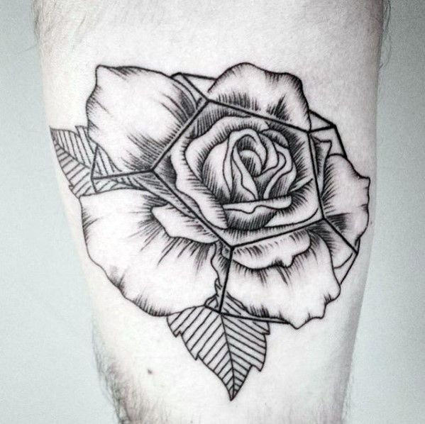40 Geometric Rose Tattoo Designs For Men Flower Ink Ideas Tattoo
