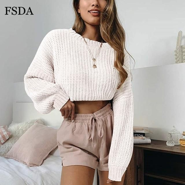Casual Cute Office Knit Crop Pullover