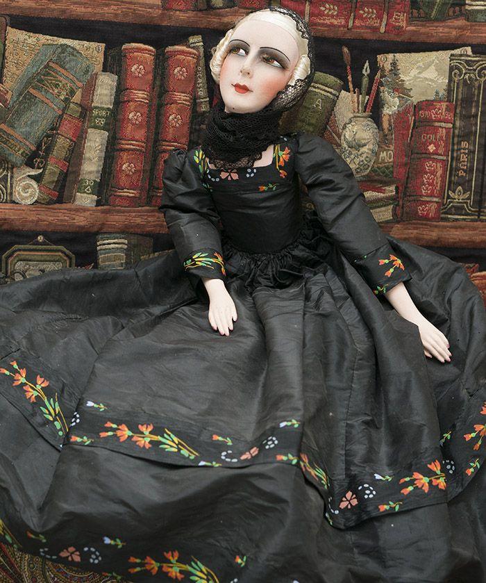 Французская Будуарная / салонная кукла, 1920-е годы, высота 75 см. - на сайте антикварных кукол.