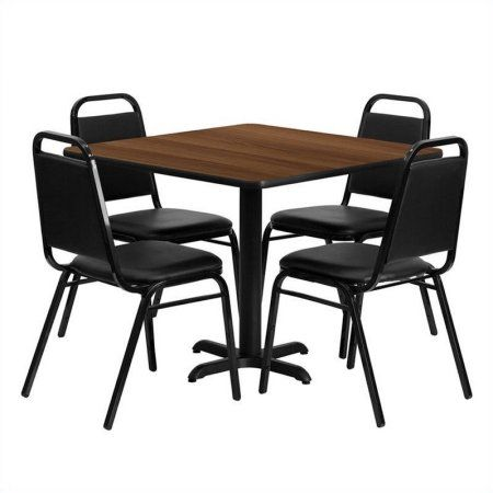 Flash Furniture 36\u0027\u0027 Square Walnut Laminate Table Set with 4 Black Trapezoidal Back Banquet  sc 1 st  Pinterest & Flash Furniture 36\u0027\u0027 Square Walnut Laminate Table Set with 4 Black ...