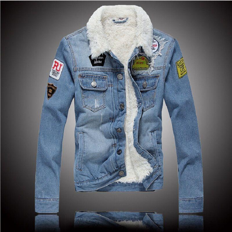 Plus Thick Velvet Denim Jacket Men 2015 Winter New European And