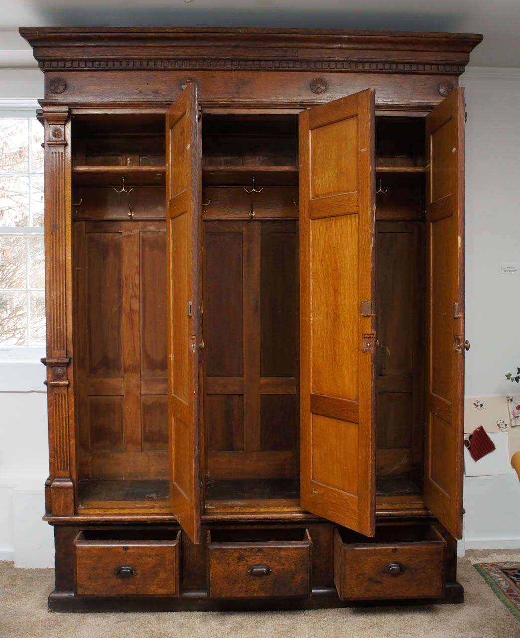 19thc wooden lockers set of 3 in beautifully grained oak image