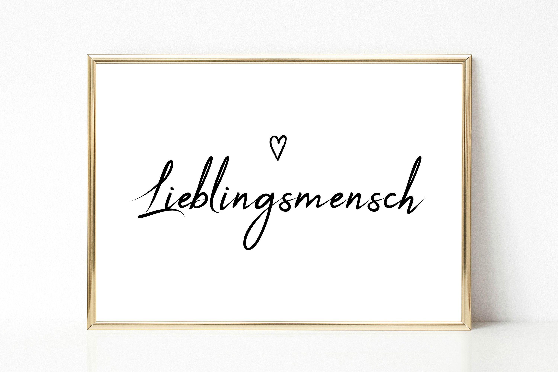 Wandbild Poster Lieblingsmensch Typografie Print Schwarz Weiss