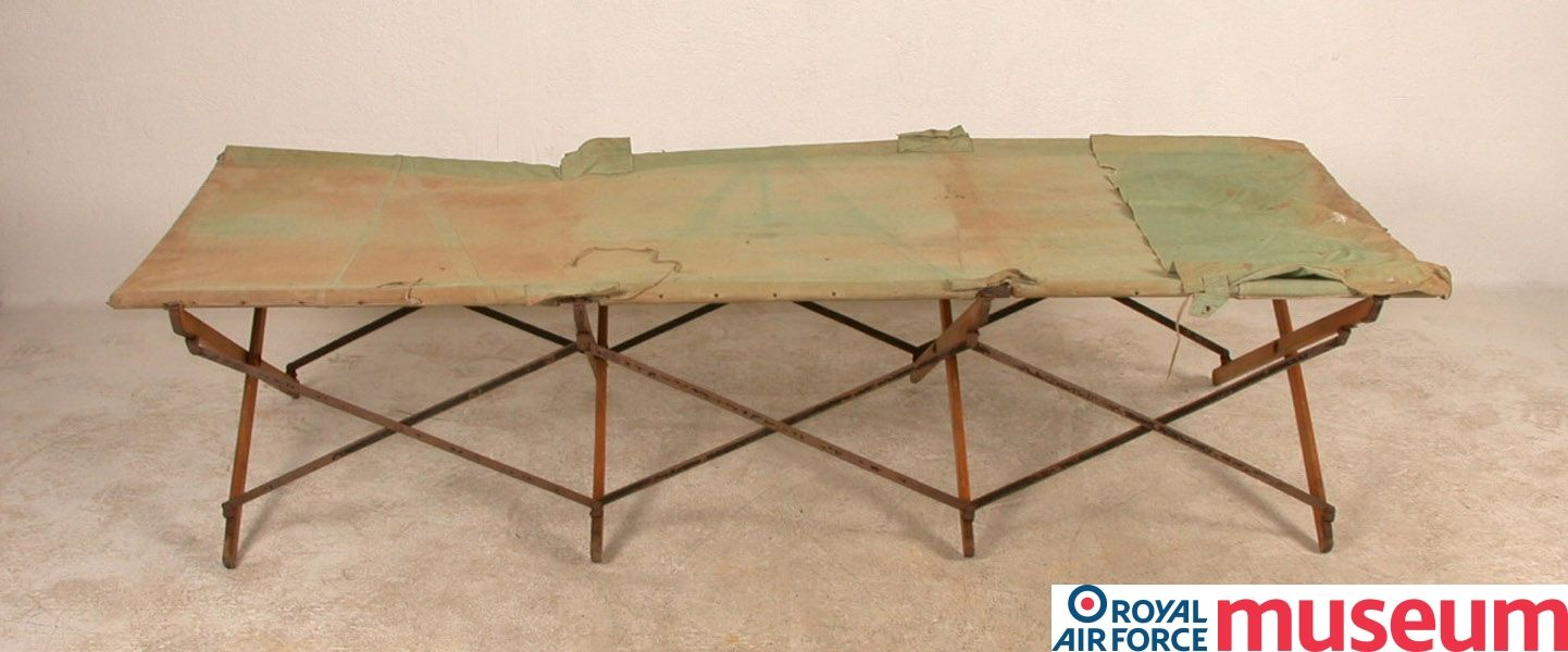 RFC folding camp bed.    The airfields constructed during the war were somewhat more makeshift sites than those developed after the war. This RFC folding camp bed would have been used in airfield barrack rooms or dispersed accommodation.